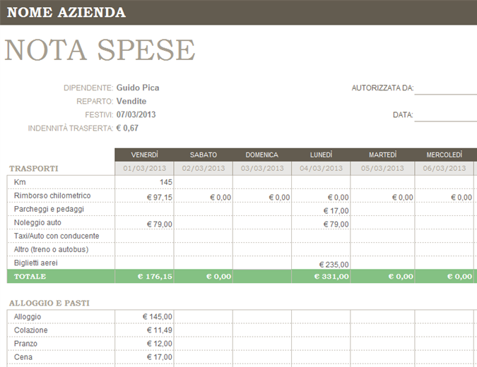 Nota Spese Office Templates