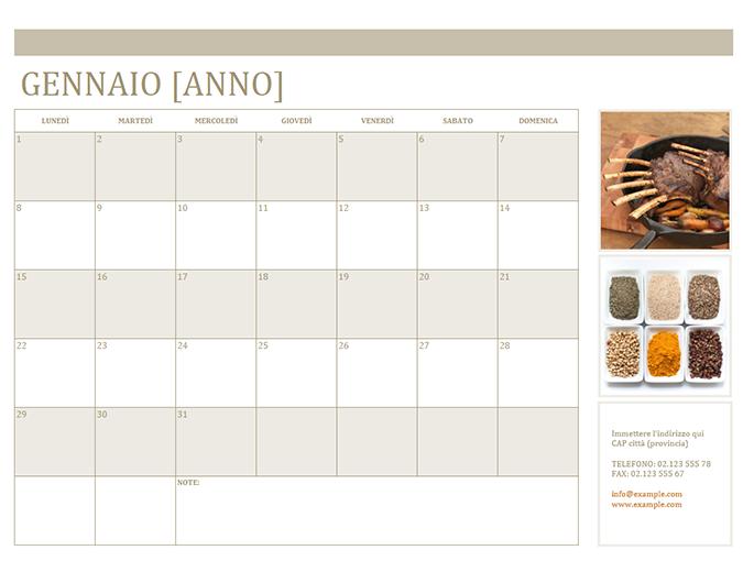 Calendario con foto (mensile)