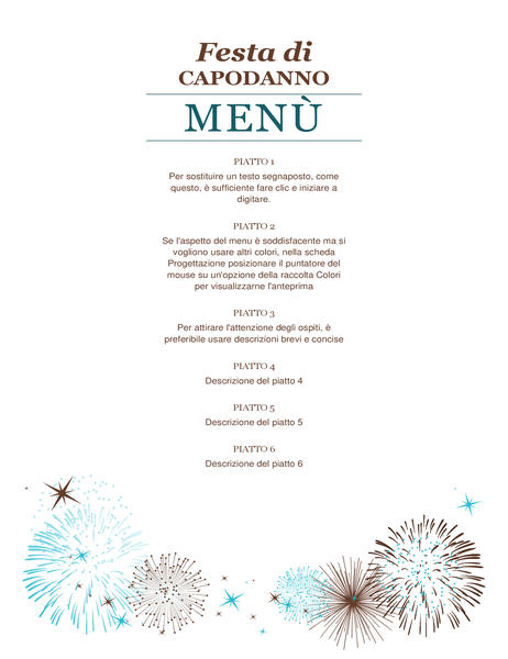 Favoloso Menu per festa di Capodanno - Office Templates XN54