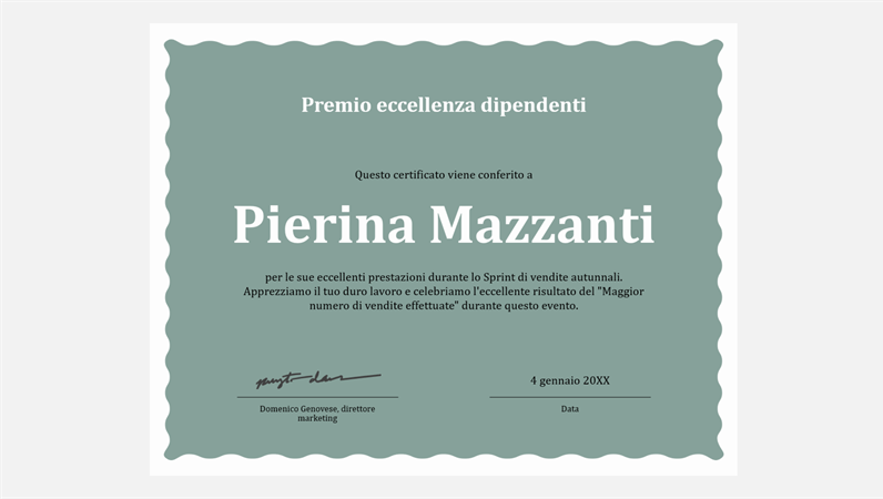 Certificato di eccellenza del dipendente
