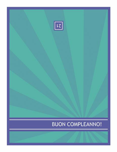 Biglietto di compleanno speciale, raggi blu su sfondo verde