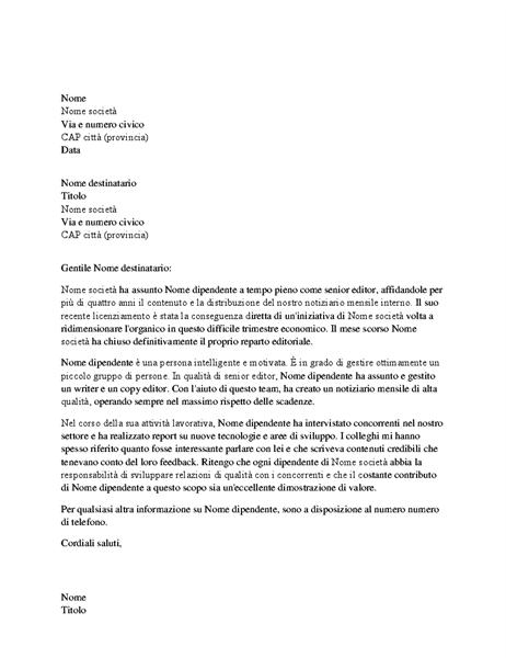 Lettera Di Ringraziamento Per Le Referenze Positive Dell Ex Capo