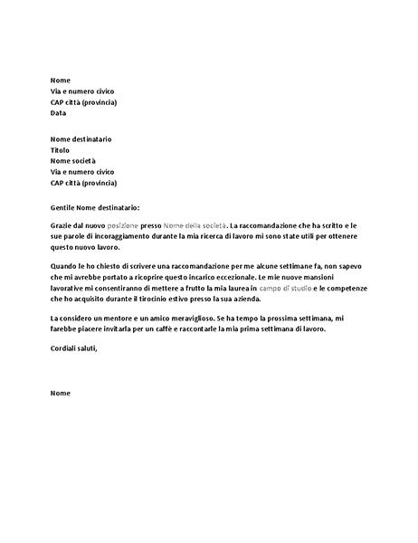 Lettera di ringraziamento per le referenze positive dell'ex capo