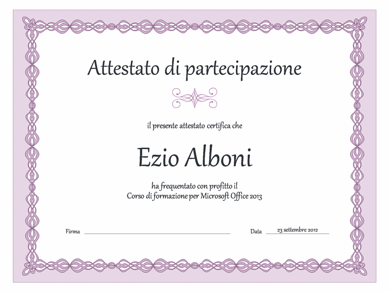 Certificato di formazione (schema con catenella viola)