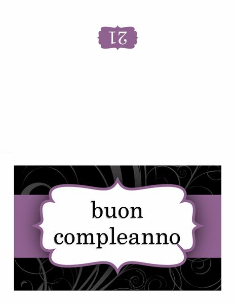 Biglietto di compleanno (schema con nastro viola)