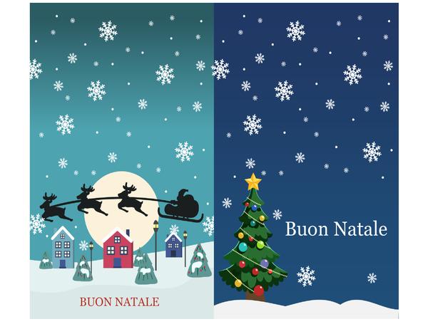 Biglietti d'auguri natalizi (schemi Spirito del Natale, 2 per pagina)