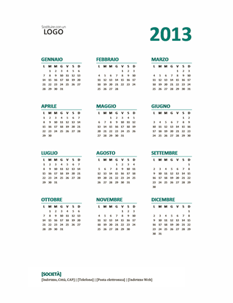Calendario annuale 2013 (formato lun-dom)