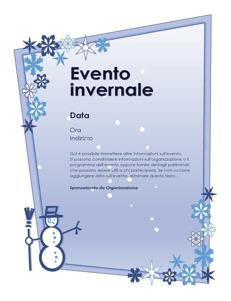 Volantino per evento in tema invernale