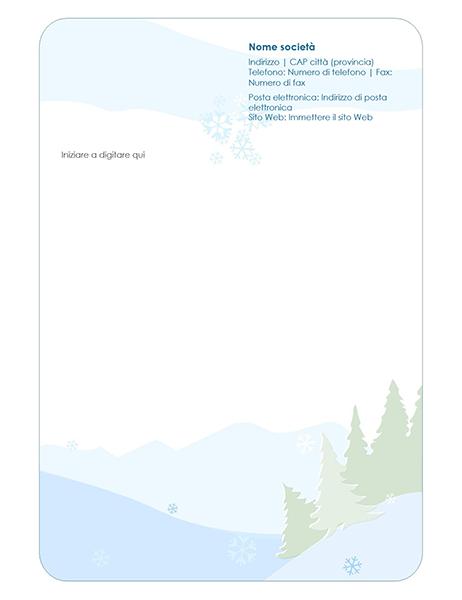 Carta intestata con elementi decorativi invernali