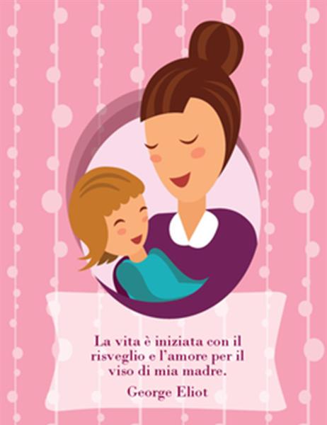 Biglietto per la festa della mamma (con mamma e bambino piegata-in-quattro)