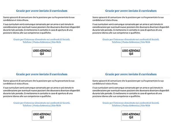 Cartolina per i candidati a un impiego dopo la chiusura della posizione (4 per pagina)