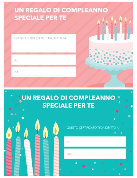 Buono regalo di compleanno (schema Brillante)