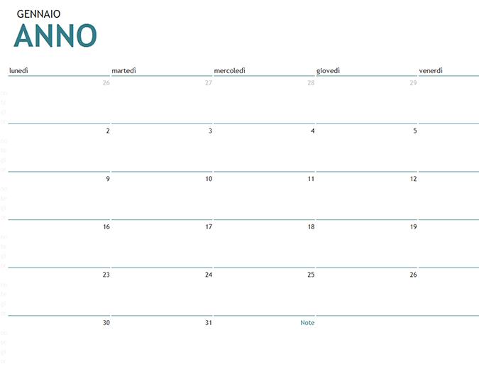 Calendario di un mese per qualsiasi anno con note