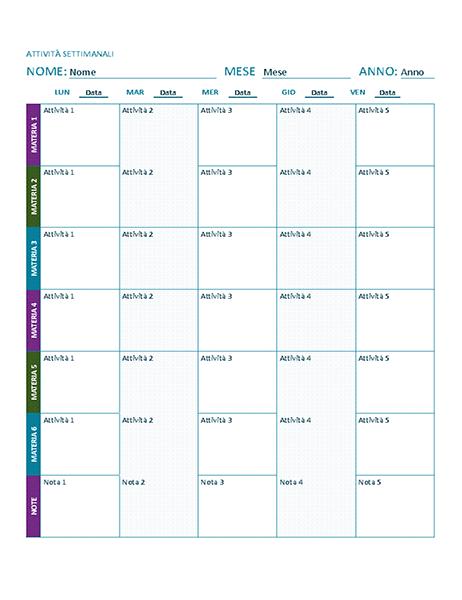 Programma attività settimanali (a colori)