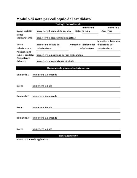 Modulo di note per colloquio del candidato