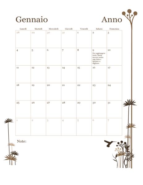 Calendario 12 mesi 2018 (lun-dom)