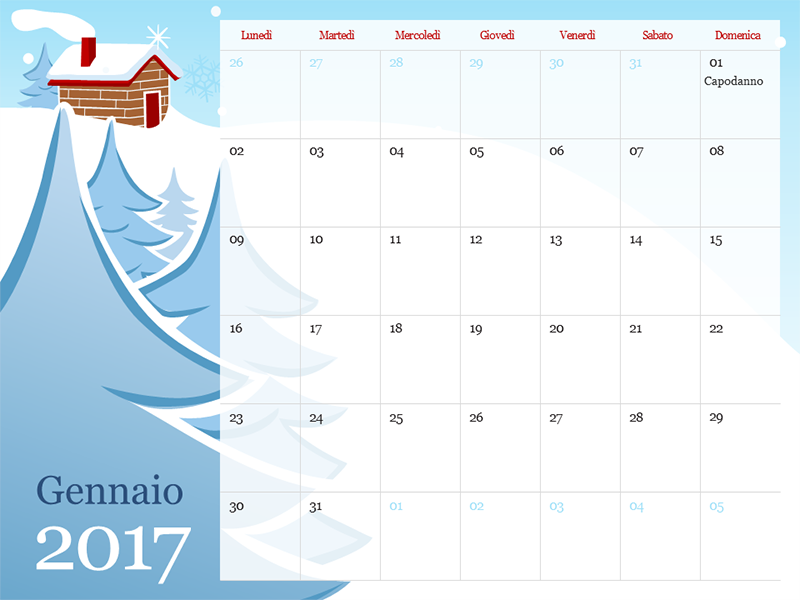 Calendario stagionale illustrato 2017 (lun-dom)