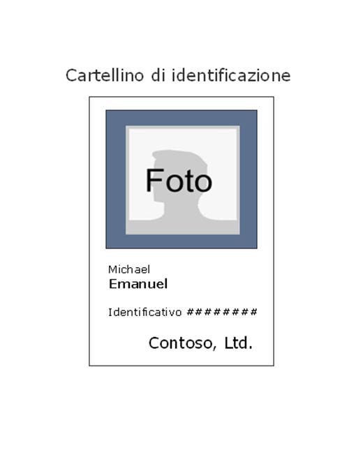 Cartellino di identificazione dipendente (verticale)