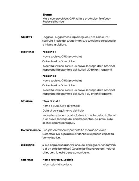 Curriculum cronologico (schema Minimalista)