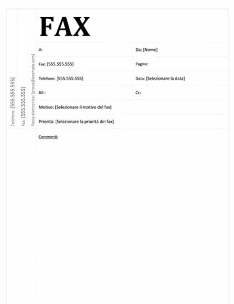Pagina copertina fax (struttura accademica)