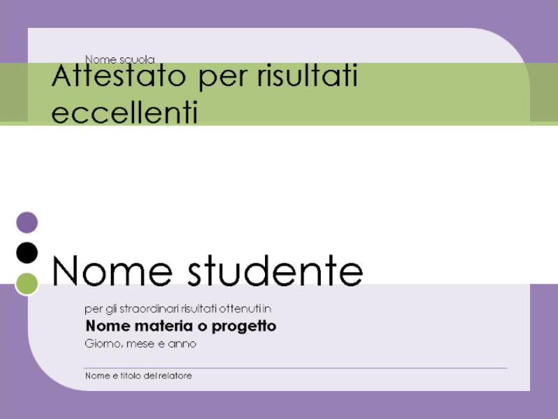 Certificato di eccellenza per lo studente