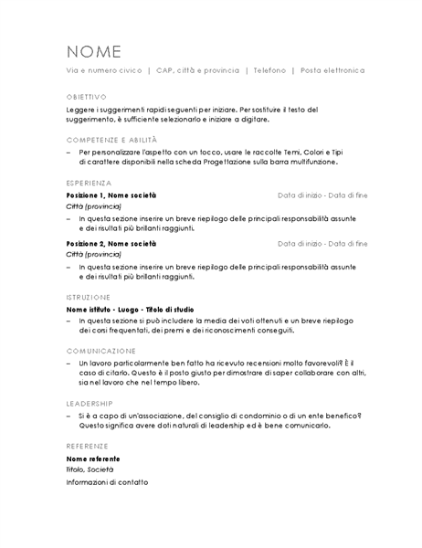 Curriculum cronologico (struttura minimalista)