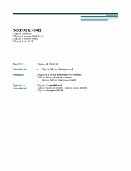 Curriculum (struttura Tramonto)