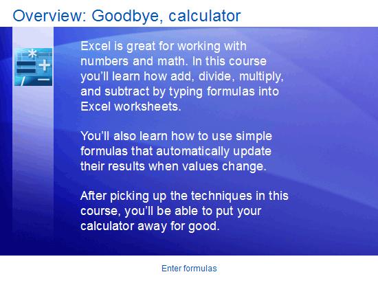 Presentazione corso di formazione: Excel 2007- Immettere le formule