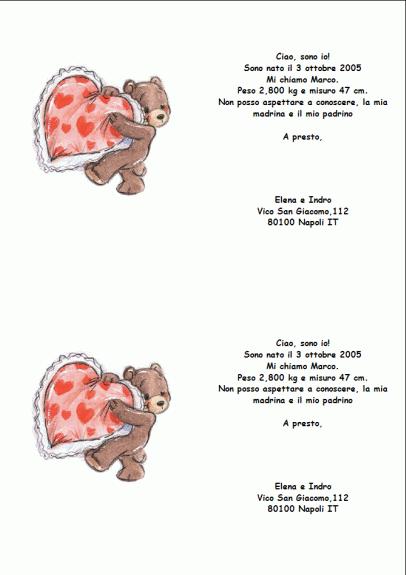 Annuncio di nascita (2 biglietti per foglio)