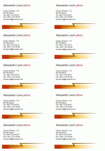 """Biglietti da visita """"Tema lampo"""" (10i per foglio)"""