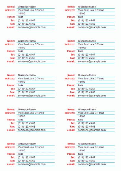 Biglietti da visita generici (10 per foglio)