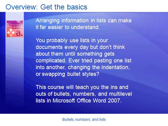 Presentazione corso di formazione: Word 2007 - Punti elenco, numeri ed elenchi