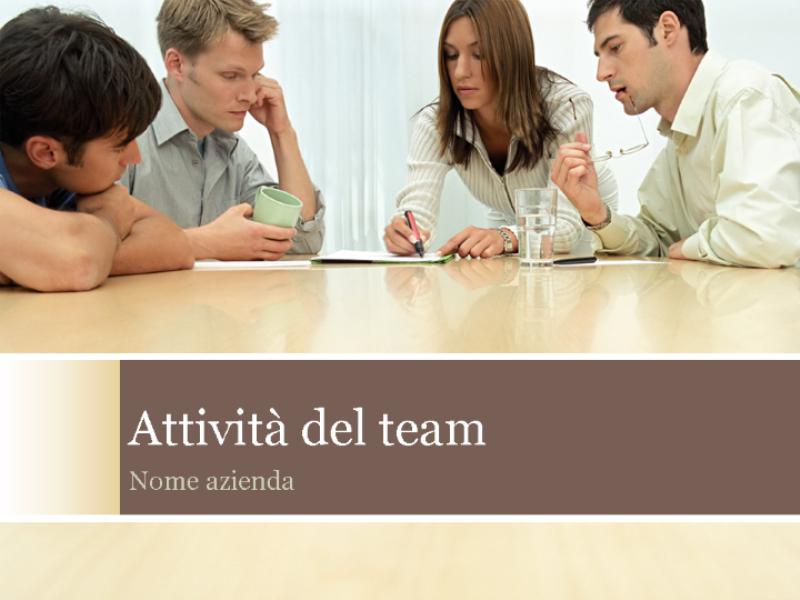 Presentazione relativa alle attività del team