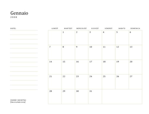 Calendario aziendale 2008 (lun-dom)