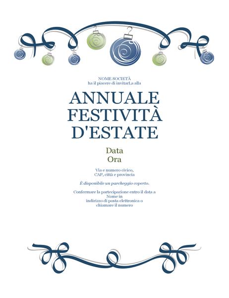 Invito festeggiamento con ornamenti blu e verdi (schema formale)