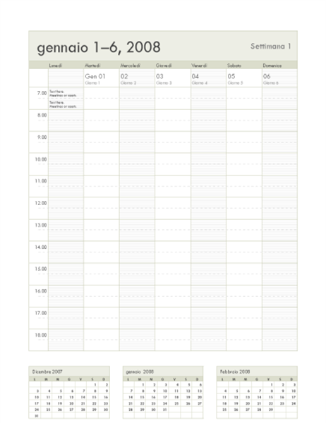 Calendario settimanale 2008 (53 pagine, lun-dom)