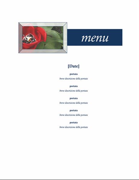 Menu della festa (tema floreale)