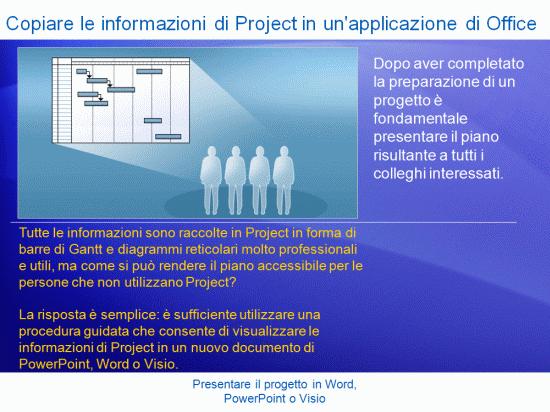 Presentazione di formazione: Project 2007 - Presentare il progetto in Word, PowerPoint o Visio