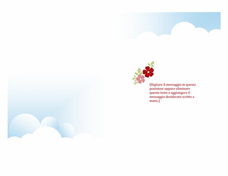 Biglietto di ringraziamento con foto (tema fiori e uccelli, piegato in due)