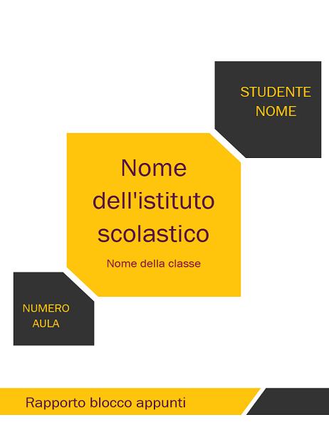 Kit per blocco appunti per relazione studenti (copertina, dorso, linguette divisore)