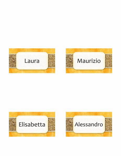 Targhette nome o segnaposto (tema sole e sabbia, pieghevoli)