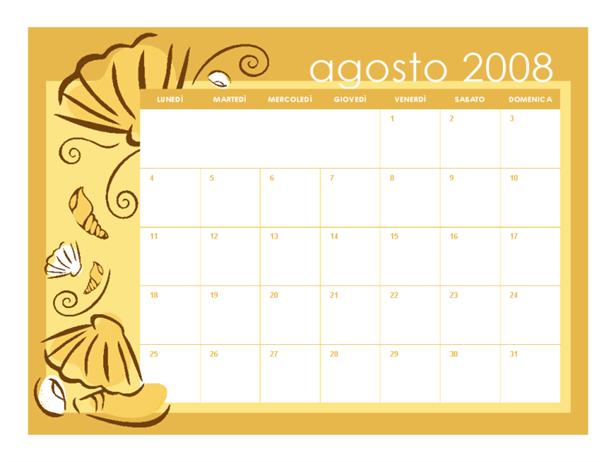 Calendario scolastico 2008-2009 (temi mensili, 13 p., lun-dom, da agosto ad agosto)
