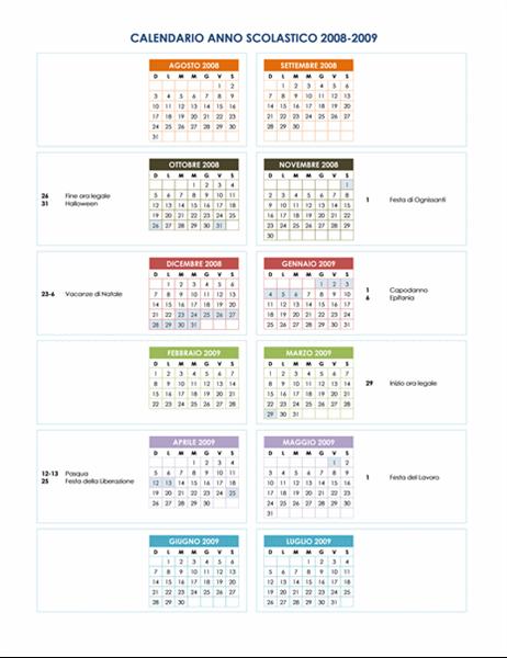 Calendario scolastico 2008-2009 (1 p.)