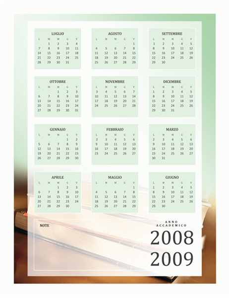 Calendario Anno Accademico 2008-2009 (1 p., lun-ven)