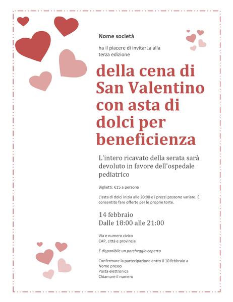 Biglietto di invito all'asta di dolci di San Valentino per beneficienza