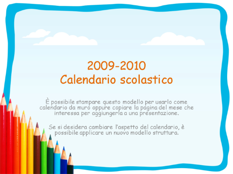 Calendario accademico 2009-2010 (lunedì-domenica, settembre-settembre)