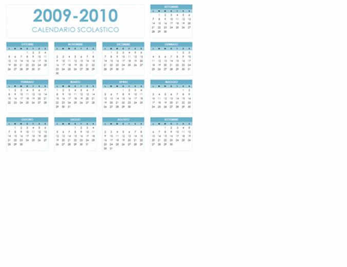 Calendario accademico 2009-2010 (1 pagina, orientamento orizzontale, lunedì-domenica)