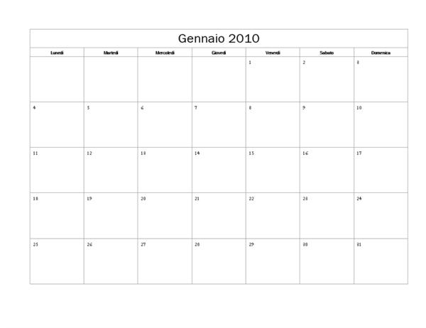 Calendario 2010 (tema di base, lunedì-domenica)