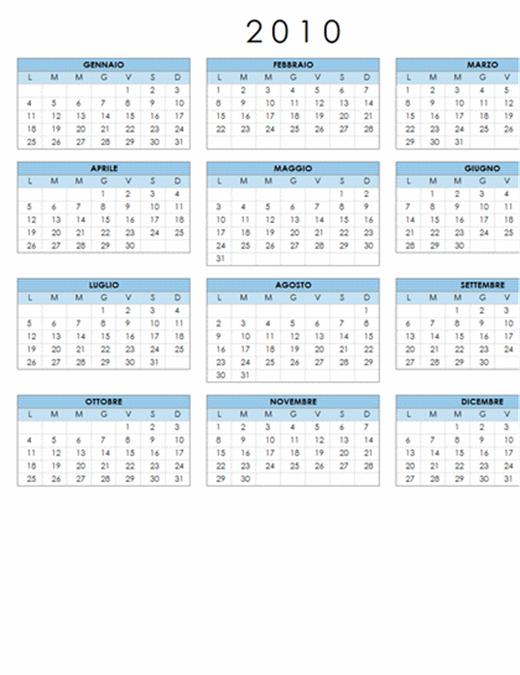 Calendario 2010 (1 pagina, orientamento orizzontale, lunedì-domenica)