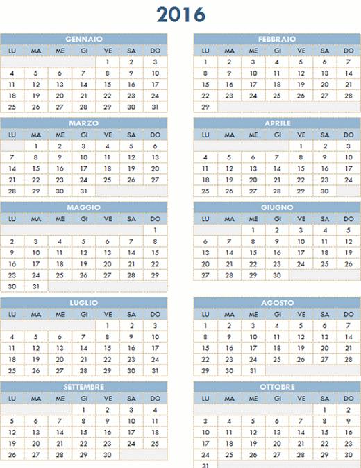 Calendario annuale 2016-2025